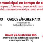 """Aquí podes ver a charla con Carlos Sánchez Mato sobre """"Fiscalidade municipal en tempo de coronavirus"""""""
